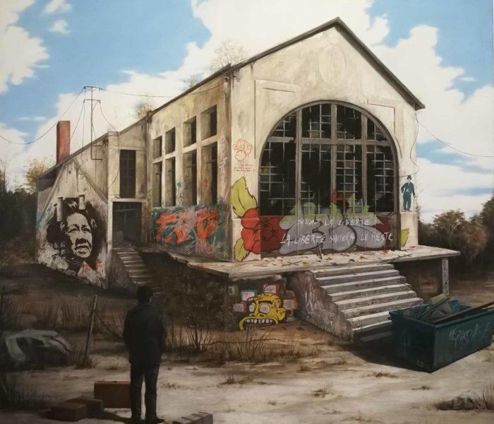 La gare abandonnée. 100X100 cm