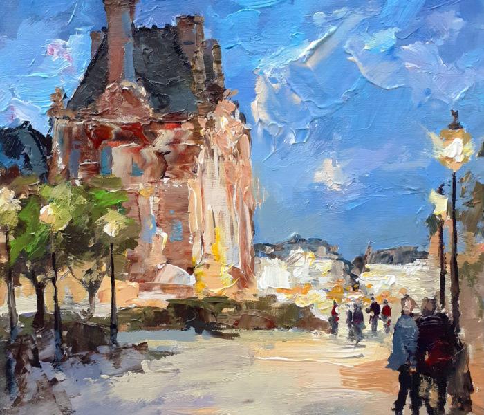 Louvre le soir 36X36 cm